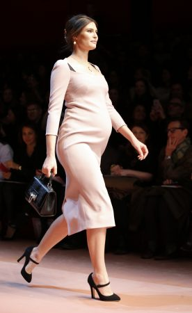 Pregnant model at Dolce & Gabanna fashion show.