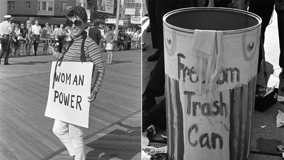Protesters unite against the sexist concept of female beauty in 1968